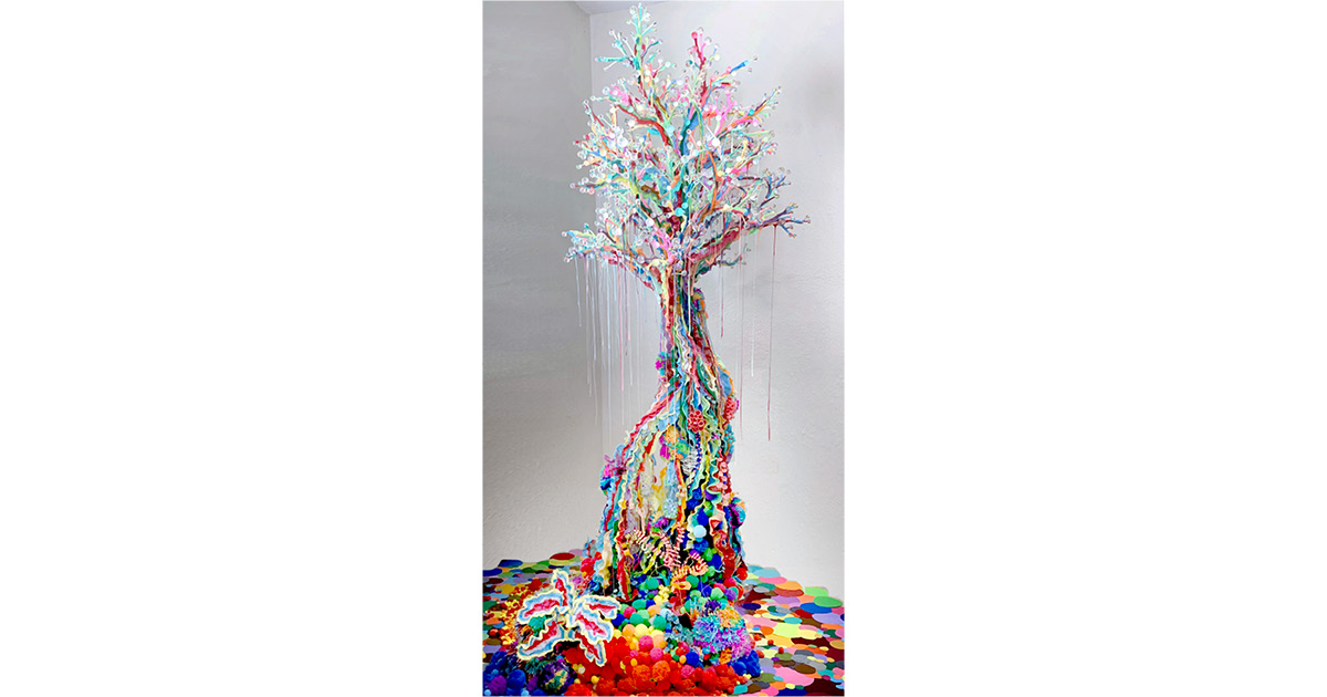 Samo Davis, Happiness in ROYGBIV, 2021, Plastic, pom poms, resin, yarn, clay, recycled materials. Courtesy of the artist. Photo: Samo Davis
