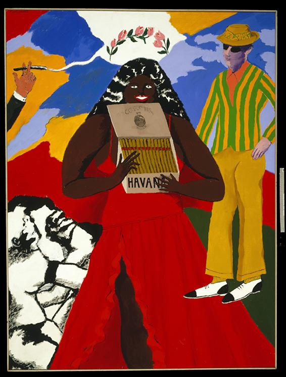 Robert Colescott, Havana Corona, 1970, Acrylic on canvas, © 2021 The Robert H. Colescott Separate Property Trust / Artists Rights Society (ARS), New York, Brooklyn Museum, Gift of Brooke and Carolyn Alexander 1991.270