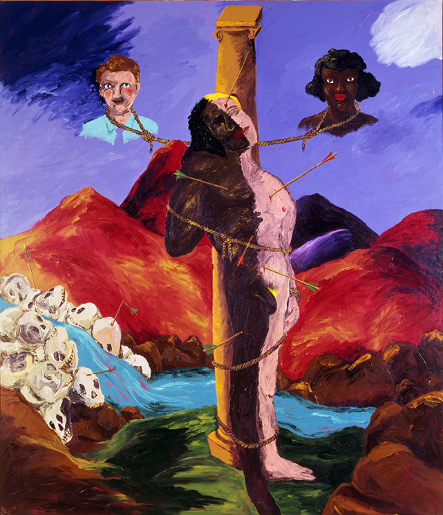 Robert Colescott, Knowledge of the Past is the Key to the Future: St. Sebastian, 1986, Acrylic on canvas, © 2021 The Robert H. Colescott Separate Property Trust / Artists Rights Society (ARS), New York, Private Collection,