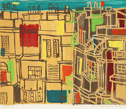 Robert Colescott, Rue St. Marceaux, 1949, Gouache on paper, © 2021 The Robert H. Colescott Separate Property Trust / Artists Rights Society (ARS), New York, Courtesy of The Robert H. Colescott Separate Property Trust and Blum & Poe, Los Angeles/New York/Tokyo