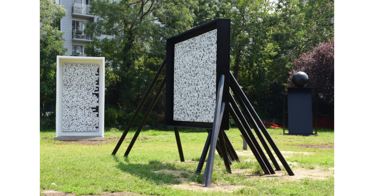 Xaviera Simmons, The structure the labor the foundation the escape the pause (2020) Steel, wood, concrete, and acrylic, in three parts: a. 17 × 4 × 12 ft.; b. 14.8 ft. × 10 in. × 7.5 ft.; c. 12.5 × 9 × 26 ft. Courtesy of the Artist, Socrates Sculpture Park, and David Castillo, Miami Photo: Sara Morgan
