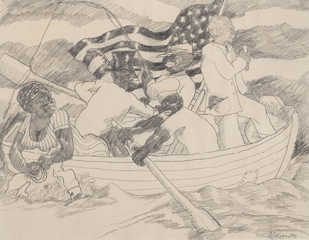 Robert Colescott, Study for George Washington Carver Crossing the Delaware, 1974, Pencil on paper, © 2021 The Robert H. Colescott Separate Property Trust / Artists Rights Society (ARS), New York, Benny Andrews Nene Humphrey Collection
