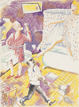 Robert Colescott, Susanna and the Elders, 1980, Colored pencil and graphite on paper, © 2021 The Robert H. Colescott Separate Property Trust / Artists Rights Society (ARS), New York, Courtesy of The Robert H. Colescott Separate Property Trust and Blum & Poe, Los Angeles/New York/Tokyo