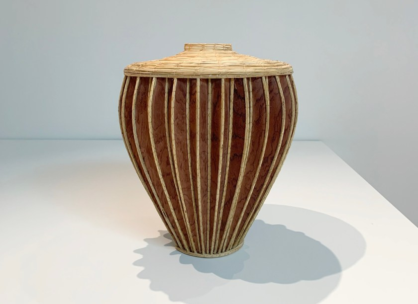 Aranda\Lasch + Terrol Dew Johnson, Corrugated Vase, 2018, Wood, bear grass, sinew, 14 x 14 x 16 in., Courtesy of the artists