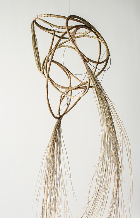 Aranda\Lasch + Terrol Dew Johnson, Grass Coil 04, 2016, Bear grass, sinew, steel wire, 22 x 26 x 24 in., Courtesy of the artists
