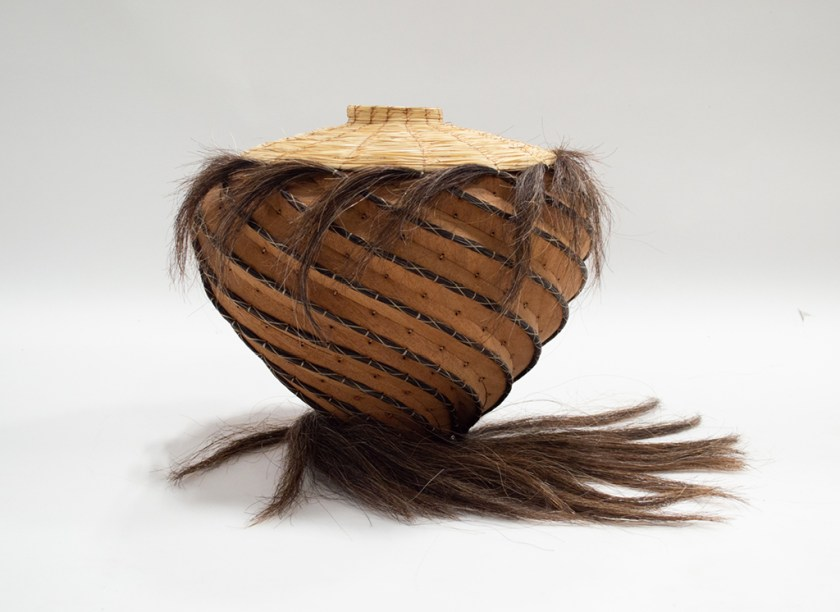 Aranda\Lasch + Terrol Dew Johnson, Horse Hair and Wood 02, 2018, Horse hair, wood, bear grass, sinew, 16 x 16 x 16 in., Courtesy of the artists