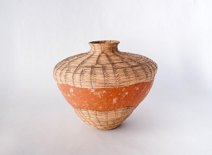 Aranda\Lasch + Terrol Dew Johnson, Inlaid Gourd Basket, 2007, Gourd, bear grass, sinew, 15 x 15 x 18 in., Courtesy of the artists
