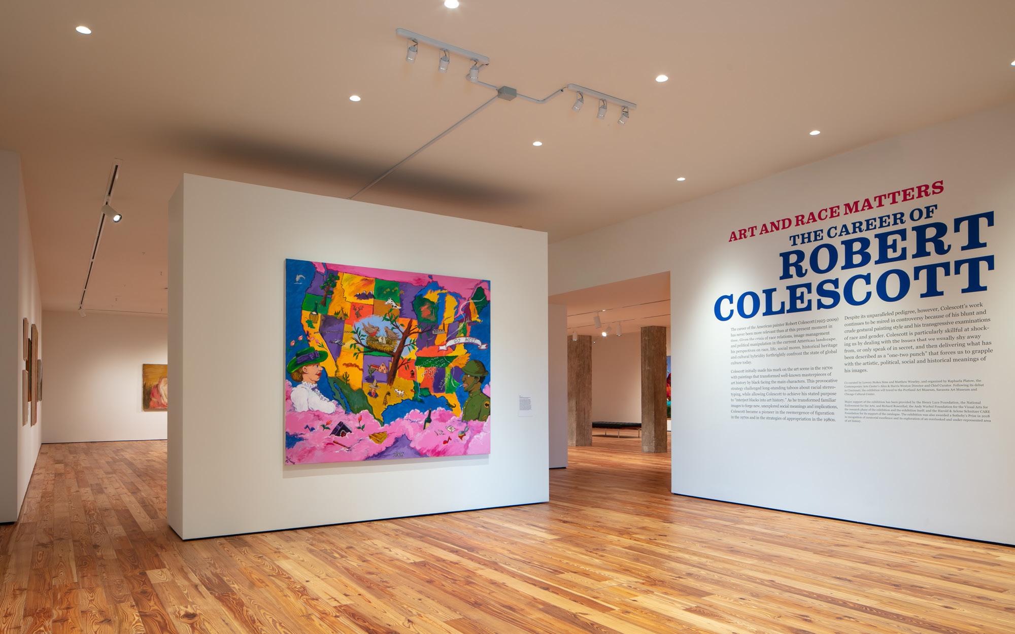 "Installation view of ""Art and Race Matters: The Career of Robert Colescott"". On view at Sarasota Art Museum, May 29 - October 31, 2021, Photo: Ryan Gamma"