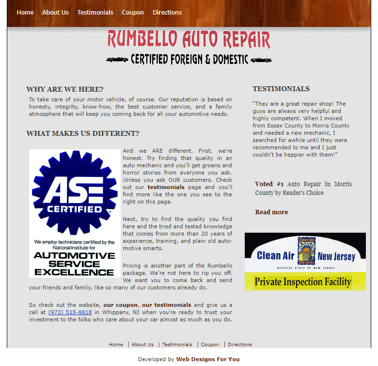 Website Copy for Auto Repair