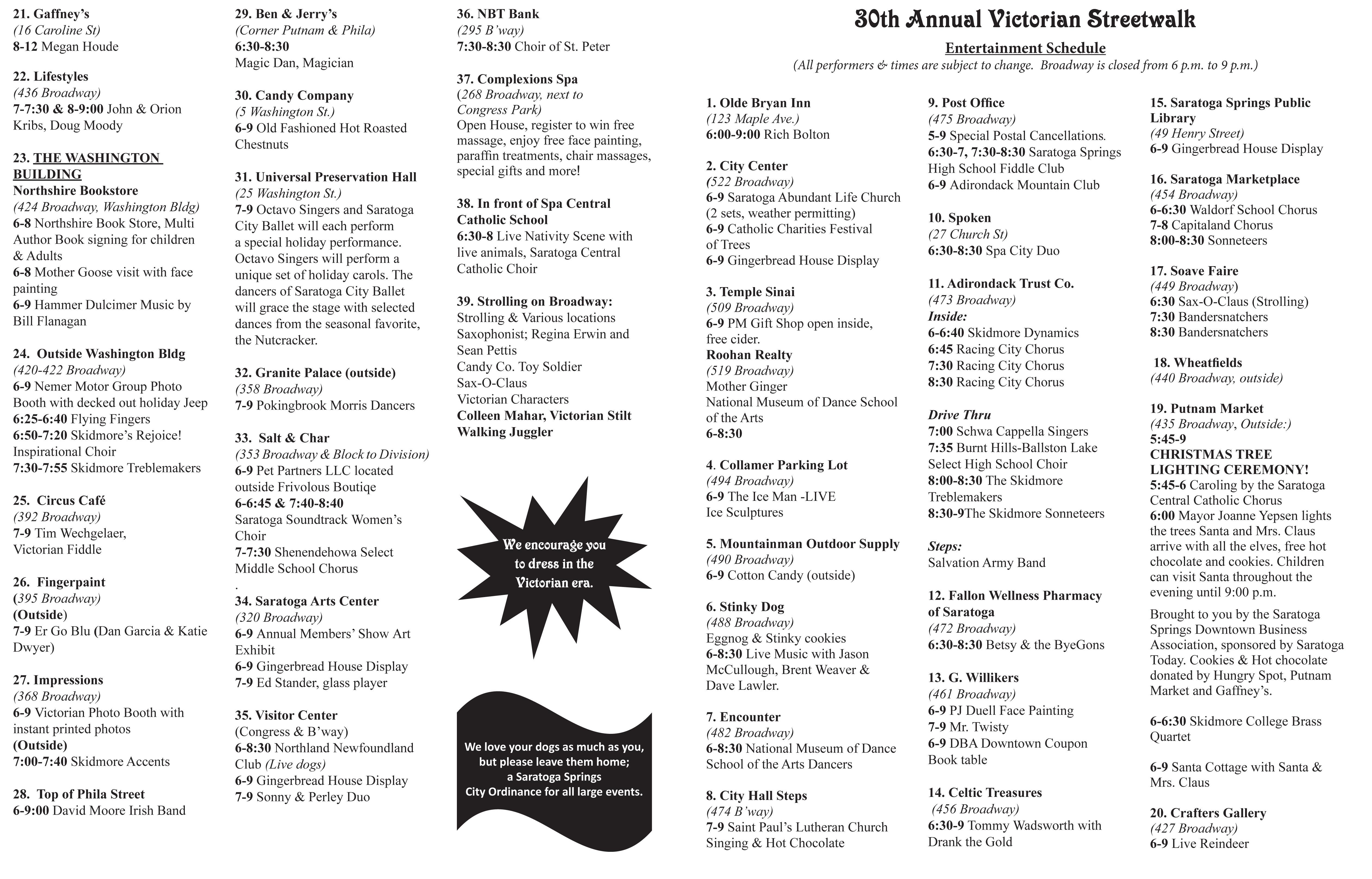 Victorian Streetwalk Schedule 2016