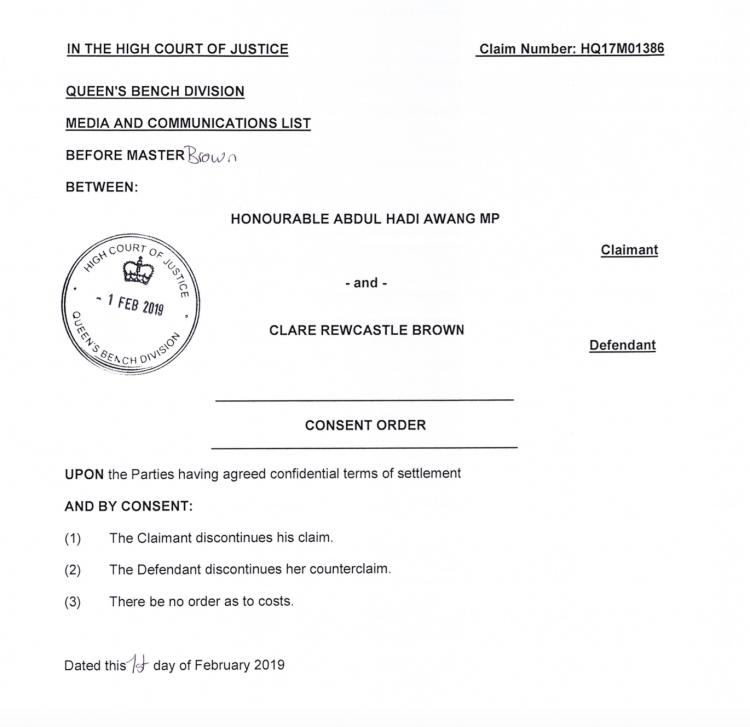 The order was stamped Feb 1st by the London High Court. Terms remain confidential