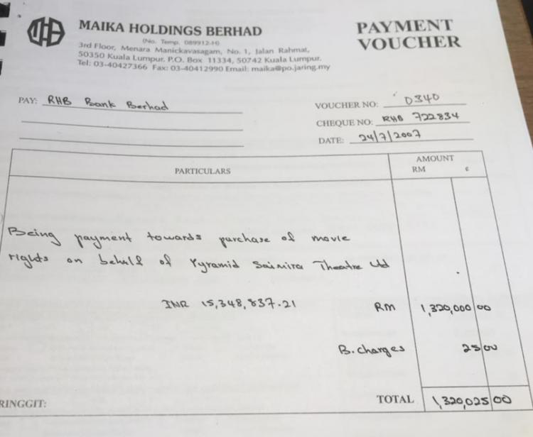 Further alleged payments to Pyramid Saimira Theatre Ltd controlled by Vell Paari