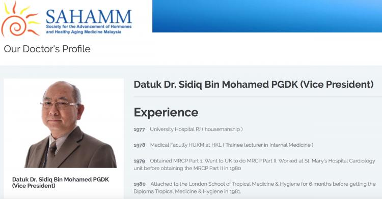 Hormone based anti-ageing clinic whose doctor is none other than a Datuk Sidiq bin Mohammed
