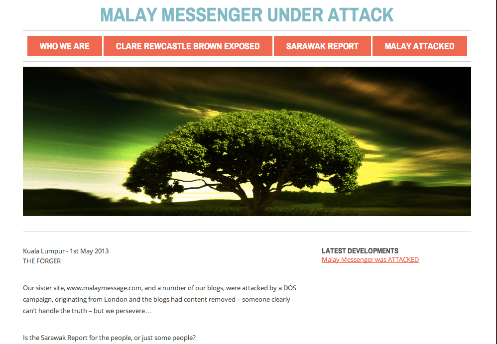 Attacker pleading it is under attack! The now defunct Malay Messenger