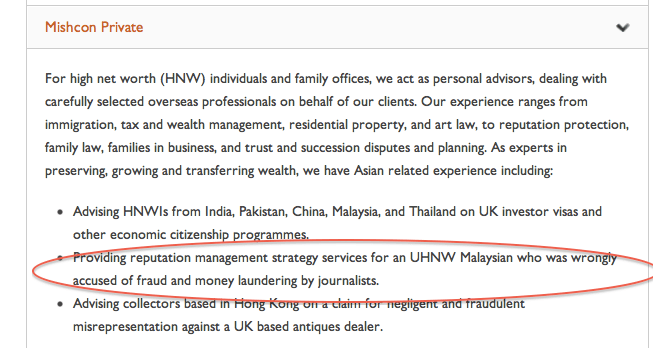 Our Ultra High Net Worth Clients - including plainly Taib Mahmud