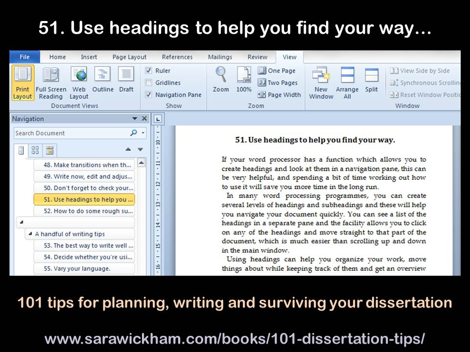 Dissertation tip #51 - use headings to help you find your way
