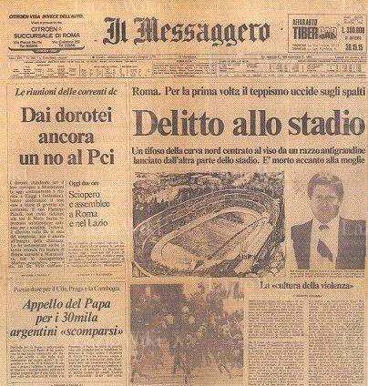 28 ottobre 1979, assassinio al derby di Roma (di Francesco Giorgioni)