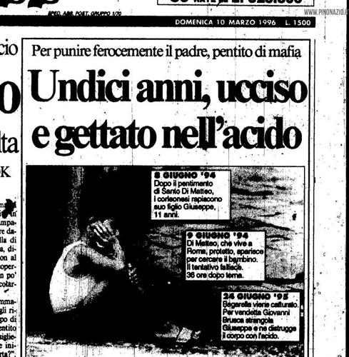 11 gennaio 1996: il piccolo Giuseppe Di Matteo viene sciolto nell'acido (di Romina Fiore)