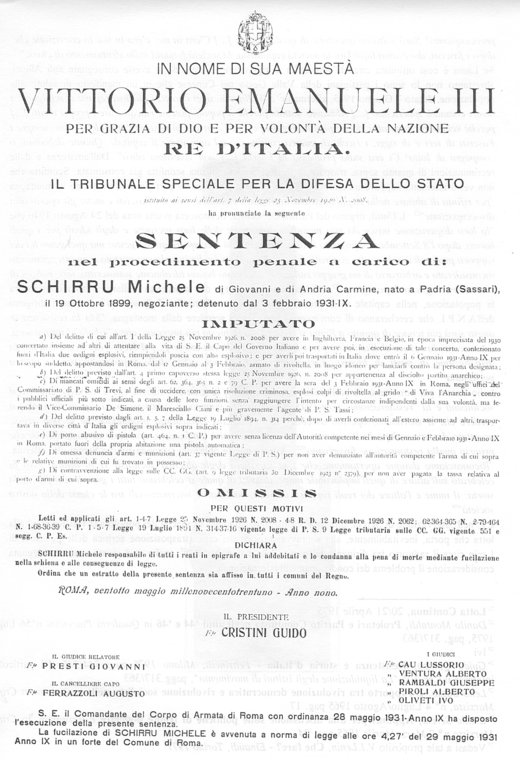 29 maggio 1931, la fucilazione di Michele Schirru (di Francesco Giorgioni)