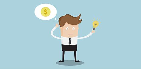Illustrazione di un imprenditore che tiene una lampadina in mano
