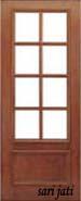 Pintu Panil Kaca dengan panil solid raised + lis timbul