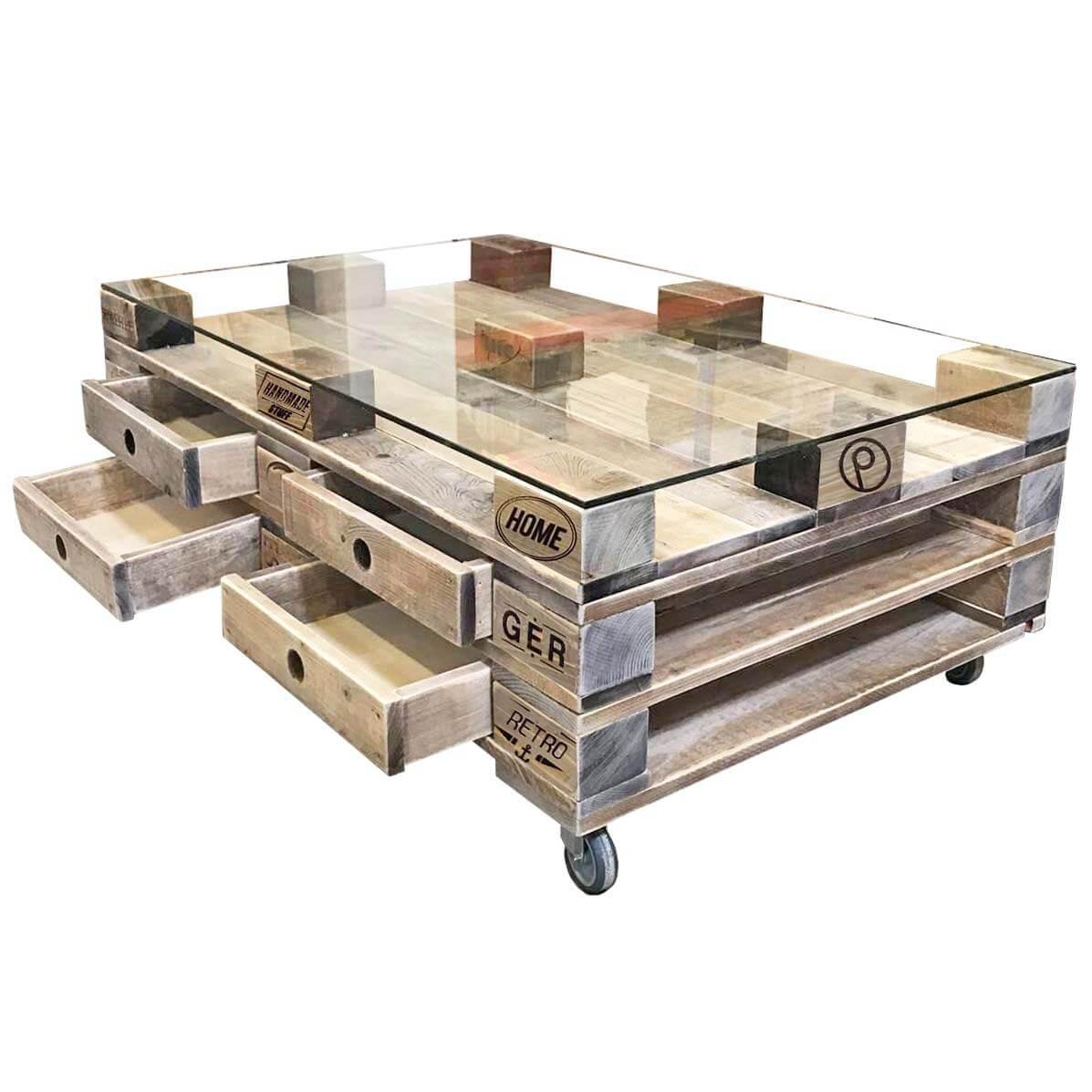 Groer Palettentisch mit Glasplatte  Schubladen  Palettenmbel Shop