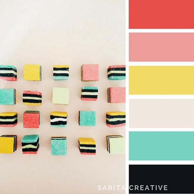 "Colour Inspiration ""Liquorice Allsorts, coral, dusky pink, yellow, mint, liquorice"