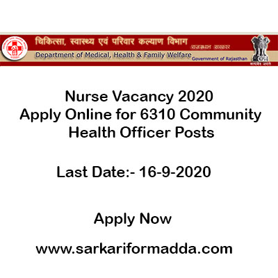 Nurse Vacancy 2020 - Apply Online for 6310 Community Health Officer Posts