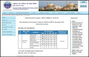 NPCIL Recruitment 2021 For 200 Executive Trainee Post Apply Online