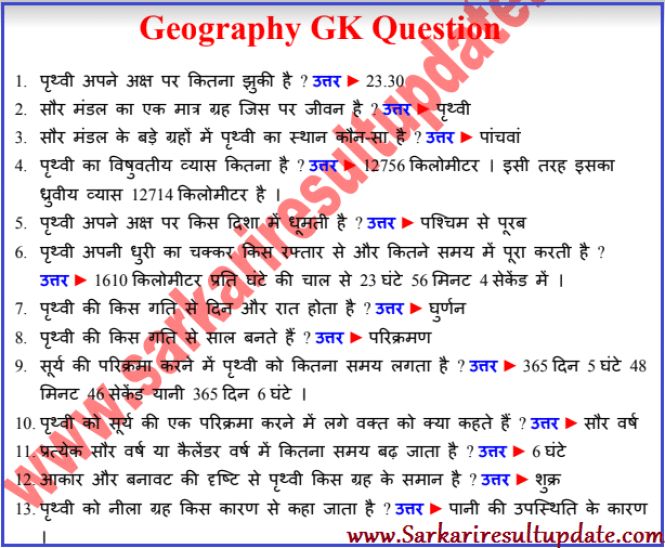 Geography GK Question