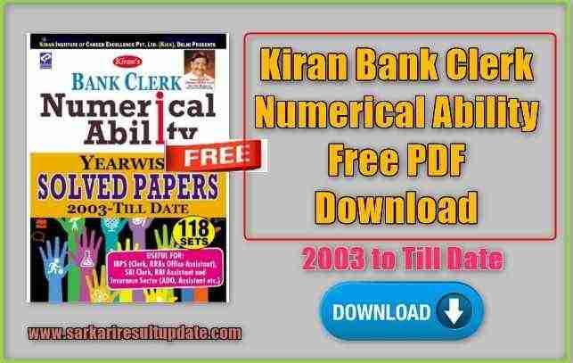 Kiran Bank Clerk Numerical Ability Free PDF Download