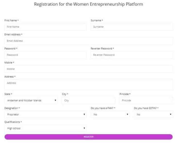 Women Entrepreneurship Platform Registration Form