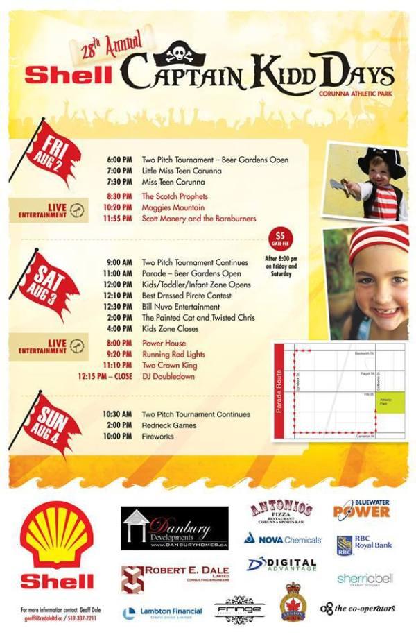 Captain Kidd Days 2013 Schedule