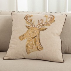 Chair Covers And Table Linens Wholesale Hanging From Ceiling Ikea Saro - 5975 Embroidered Beaded Deer Design Pillows