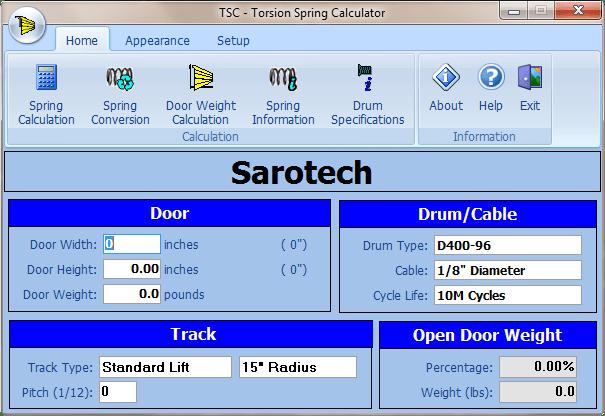 Torsion Spring Calculator for Overhead Doors  Sarotech Inc