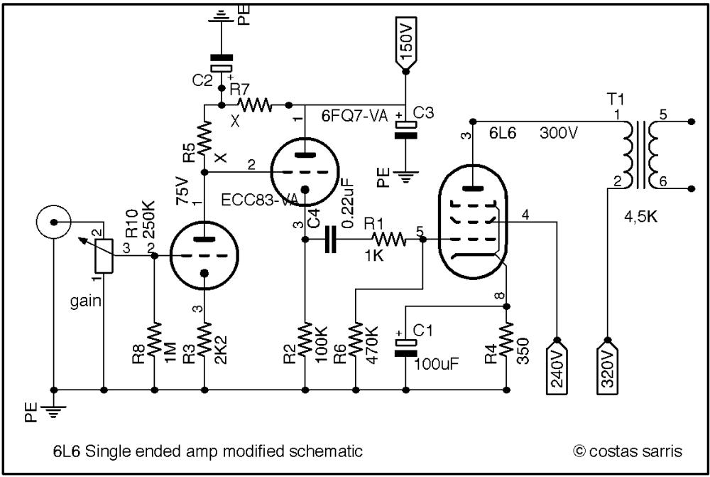 medium resolution of 6l6 audio se modified schematic