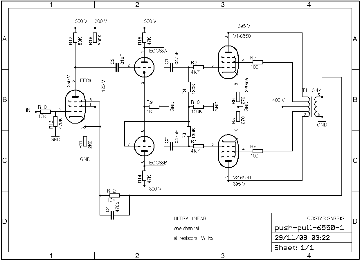 hight resolution of pp6550 audio amp schematic