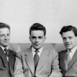 3 young men black and white photo