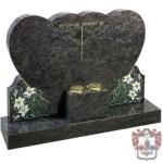 two hearts head stone