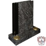 traditional black stone with vases head stone