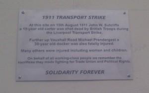 1911 Transport Strike Memorial Plaque