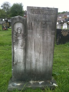 Gravestone before cleaning