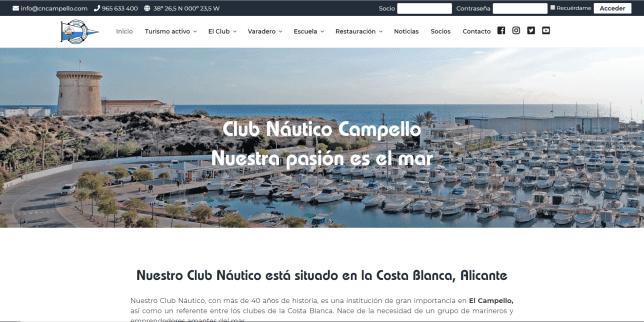 Disseny web per a Club Nàutic del Campello
