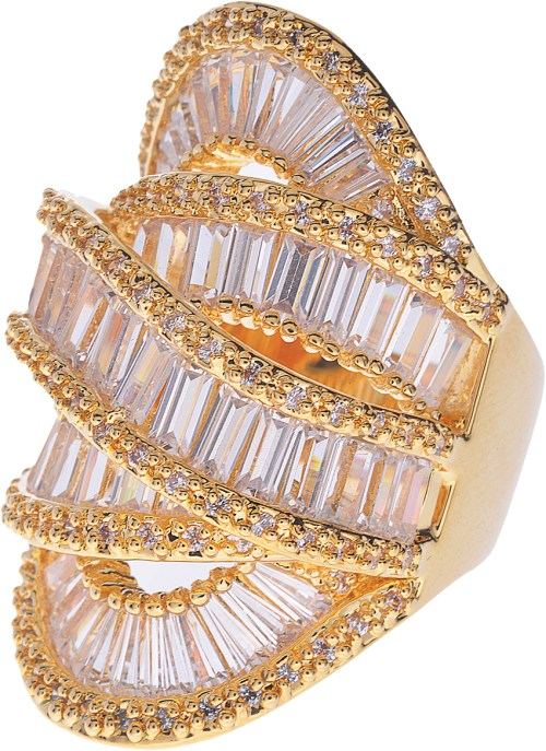 Amishi Luxury Gold plated and Crystal statement ring (one size)