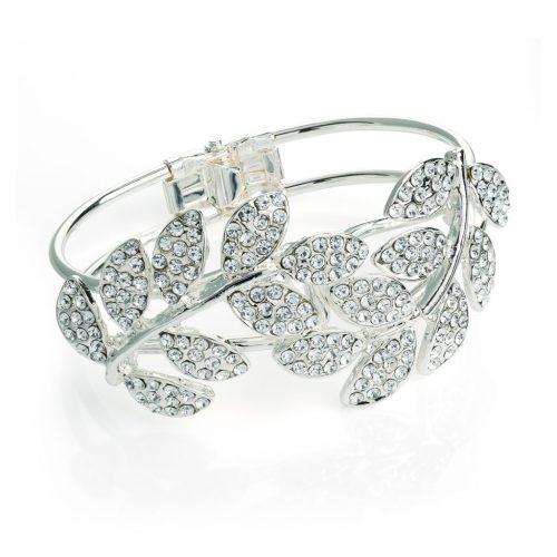 Silver coloured crystal leaf design hinge bangle