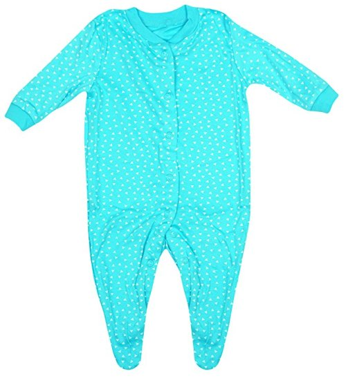 Turquoise baby grow with white triangle pattern - 0-3 & 6-9 months