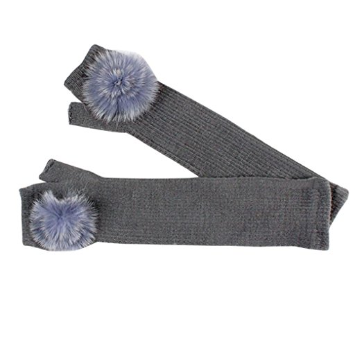 Fur fingerless long gloves grey - Sartorial Boutique and Gifts