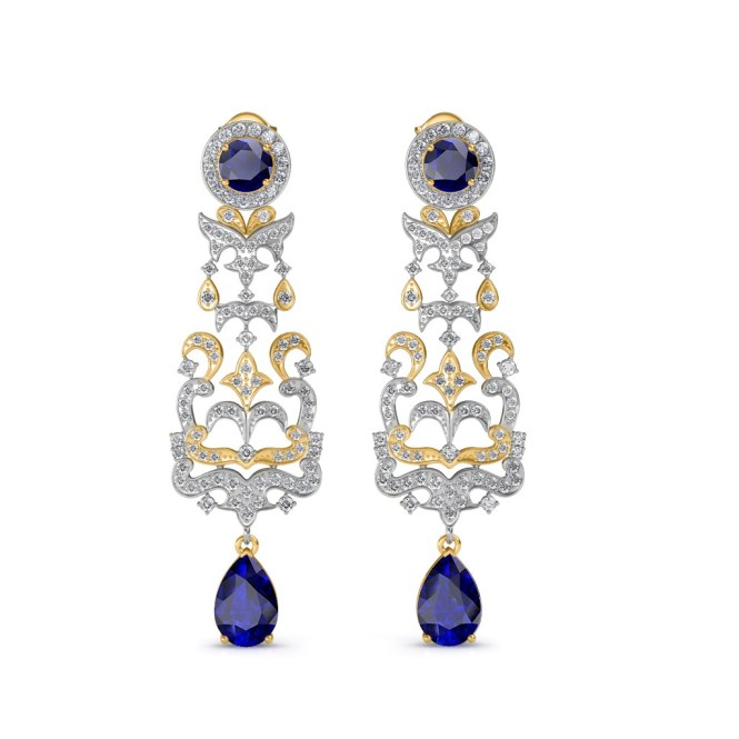 The Irina Chandelier Earrings Yellow Diamond Jewellery At Best Prices In India Sarvadajewels