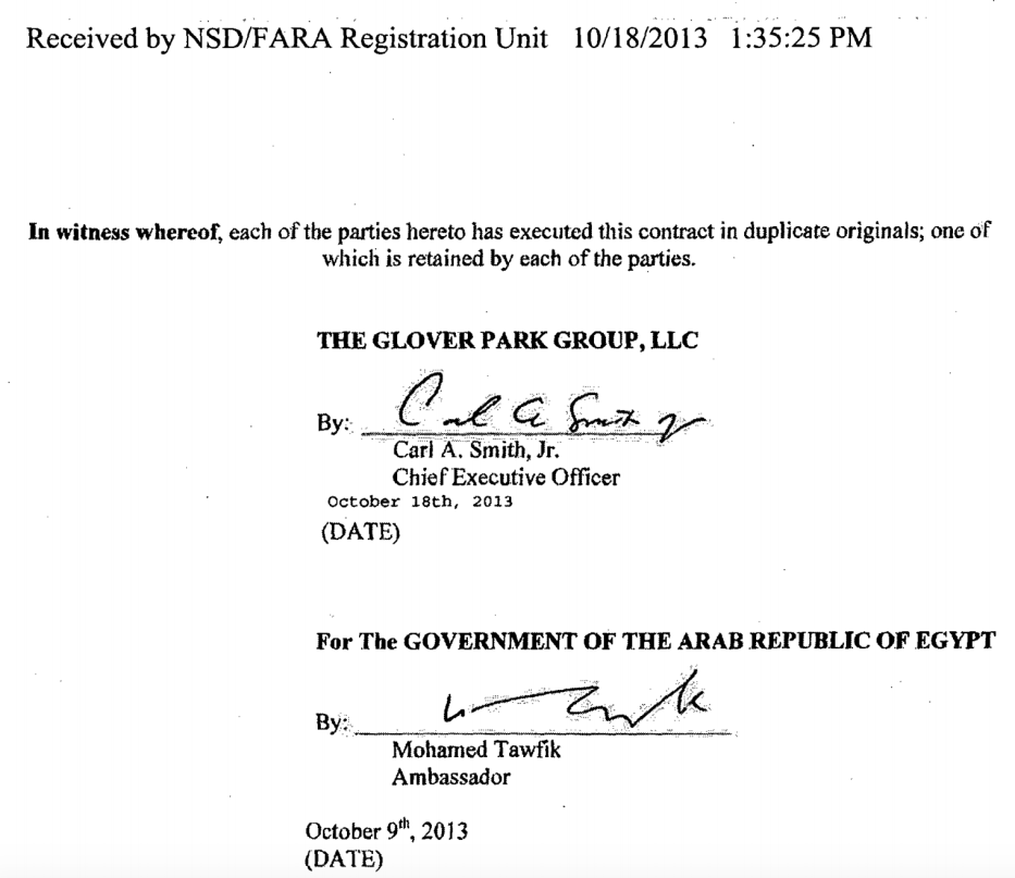Here appears the signature of Mohammed Tawfik, the Egyptian ambassador to Washington, from the Egyptian government's contract with The Glover Park Group. Source: Fara database [sasapost.com]