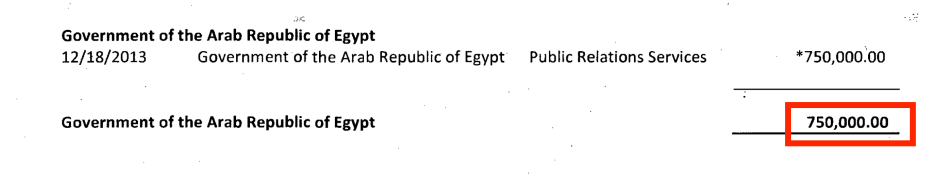 Part of the Egyptian government payments to The Glover Park Group for its services from October to December 2013. Source: US Department of Justice website [sasapost.com]
